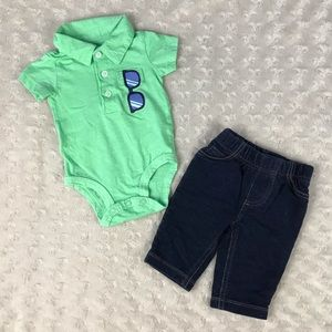 Carter's Baby Boy Outfit Green Polo Shirt Jeans 3M
